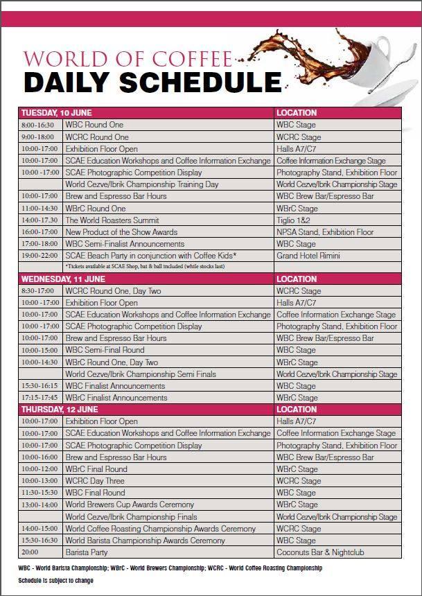 Il programma delle gare