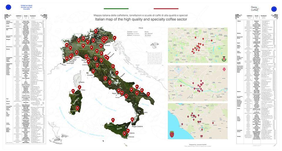 MAPPA DELLO SPECIALTY COFFEE ITALIANO, LUGLIO 2020