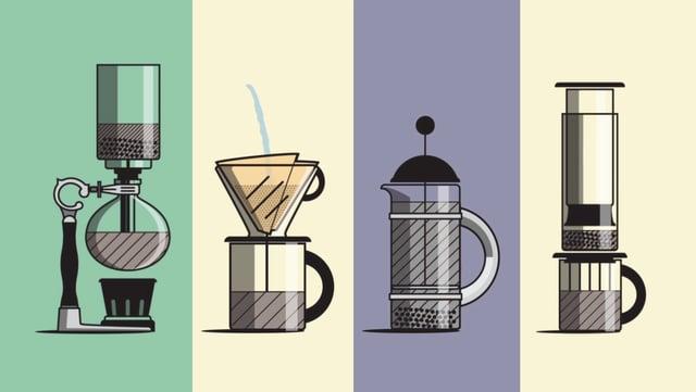 6 METODI PER PREPARARE UNA TAZZA DI CAFFE', IN UN CARTONE ANIMATO
