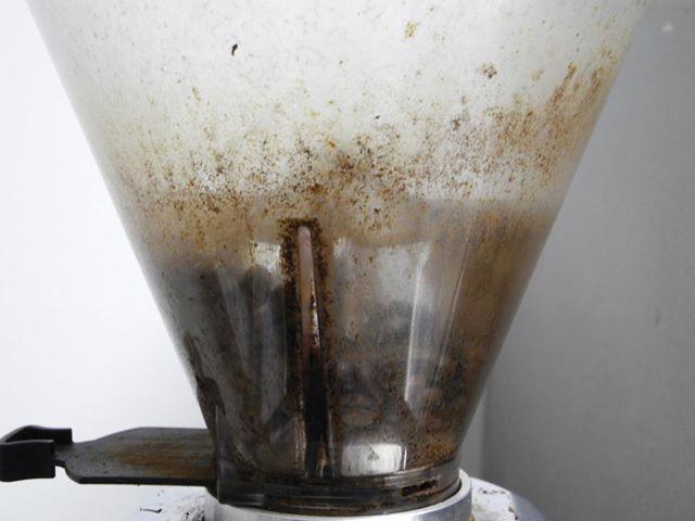 Tramoggia del macinacaffè sporca