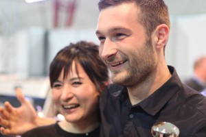 Christian Ulrich e la vincitrice di latte art 2013 Hisako Yoshikawa