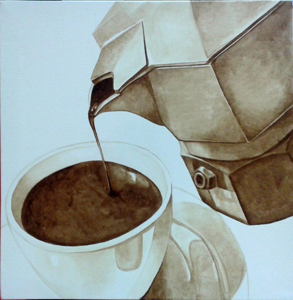 Moka, caffè espresso su tela by Martina Lupi