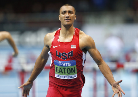 United States' Ashton Eaton has finished his 60m hurdles race of the Heptathlon during the Athletics World Indoor Championships in Sopot, Poland, Saturday, March 8, 2014. (AP Photo/Petr David Josek)