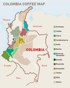 colombia coffee regions map