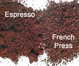 I diversi livelli di macinatura, per il caffè espresso o per il cafè americano, molto più grosso.