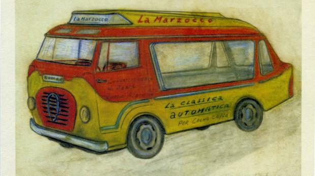 Un disegno del furgone originale