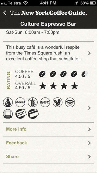 New York coffee guide APP