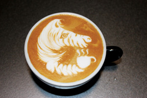Latte art zebra
