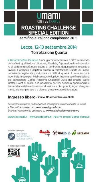 UMAMI COFFEE CAMPUS A LECCE, PRIMA SEMIFINALE DEL CAMPIONATO ITALIANO ROASTING